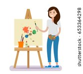 art studio interior. woman... | Shutterstock .eps vector #653364298