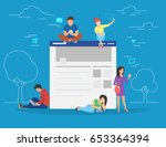 social network web site surfing ... | Shutterstock .eps vector #653364394