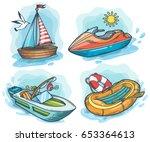 powerboat  sailboat  water bike ... | Shutterstock .eps vector #653364613