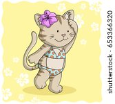 bikini comic cat | Shutterstock . vector #653366320
