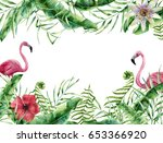 watercolor tropic card with... | Shutterstock . vector #653366920