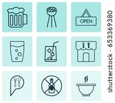 restaurant icons set.... | Shutterstock .eps vector #653369380