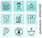 restaurant icons set.... | Shutterstock .eps vector #653369380