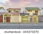 urban scene picturesque colored ... | Shutterstock . vector #653373370