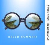 hello summer illustration.... | Shutterstock .eps vector #653373619