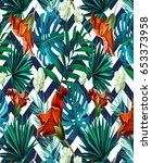zigzag tropical pattern fashion ... | Shutterstock . vector #653373958