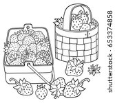 Strawberries In Baskets Cartoo...