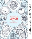 business lunch top view frame.... | Shutterstock .eps vector #653379523