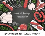 meat top view frame. vector... | Shutterstock .eps vector #653379544