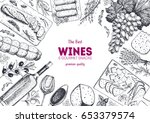 wines and gourmet snacks frame... | Shutterstock .eps vector #653379574