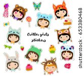 Cute sticker set with anime critter girls on white background