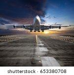 a passenger plane flying in the ... | Shutterstock . vector #653380708