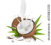 close up of a coconuts with... | Shutterstock . vector #653381233