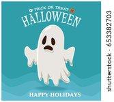 vintage halloween poster design ... | Shutterstock .eps vector #653382703