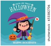 vintage halloween poster design ... | Shutterstock .eps vector #653382706