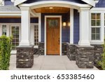 new luxury home exterior detail ... | Shutterstock . vector #653385460