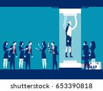 robot standing in capsules and... | Shutterstock .eps vector #653390818