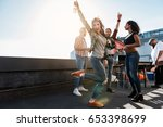 carefree girl enjoying party on ... | Shutterstock . vector #653398699