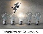 businessman in new idea concept ... | Shutterstock . vector #653399023