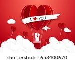 paper art style couple standing ... | Shutterstock .eps vector #653400670