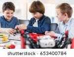 interested children working on... | Shutterstock . vector #653400784