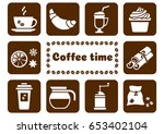 white set on brown background ... | Shutterstock .eps vector #653402104