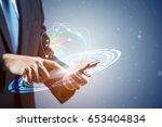double exposure of  businessman ... | Shutterstock . vector #653404834