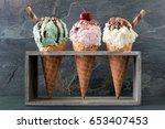 pistachio  cherry and vanilla... | Shutterstock . vector #653407453