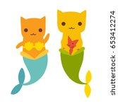 mermaid cat vector illustration.... | Shutterstock .eps vector #653412274