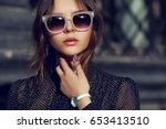 outdoor close up portrait of... | Shutterstock . vector #653413510