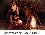 bedouin woman in traditional... | Shutterstock . vector #653413588