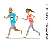 young sporty man and woman... | Shutterstock .eps vector #653416810
