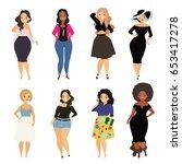 beautiful curvy  overweight...   Shutterstock .eps vector #653417278