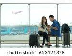 couple asian student traveler... | Shutterstock . vector #653421328