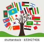 Set Of World Flag In Tree...
