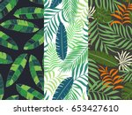 set of three seamless floral...   Shutterstock .eps vector #653427610
