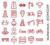 road icons set. set of 25 road... | Shutterstock .eps vector #653442259