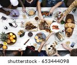 aerial view of diverse friends... | Shutterstock . vector #653444098