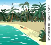 sea landscape summer tropical...   Shutterstock .eps vector #653447344