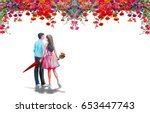 Stock photo watercolor paintings the men s and women s lovers are in the middle of beautiful red roses and 653447743