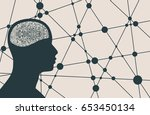 silhouette of a man's head.... | Shutterstock .eps vector #653450134