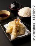 Tempura Moriawase with rice Tempura Moriawase in restaurant on yesterday. Janpan food gave me to know japanese culture and custom with japanese people. - stock photo