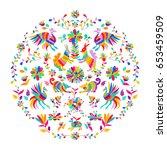 vector folk mexican otomi style ... | Shutterstock .eps vector #653459509