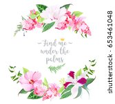 exotic tropical round floral... | Shutterstock .eps vector #653461048