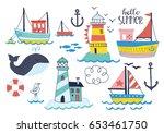 summer holiday vacation set of...   Shutterstock .eps vector #653461750