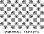 black and white kaleidoscopic... | Shutterstock . vector #653461948
