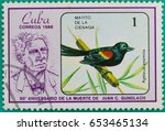 Small photo of SARABURI, THAILAND-JUNE 01,2017: Postage stamps had been printed in Cuba shows image of a Agelaius assimilis bird, circa 1986