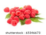 Red Raspberries On Leaves Over...