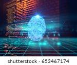 finger print scanning...   Shutterstock . vector #653467174