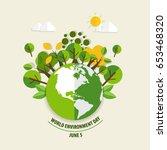 world environment day concept.... | Shutterstock .eps vector #653468320